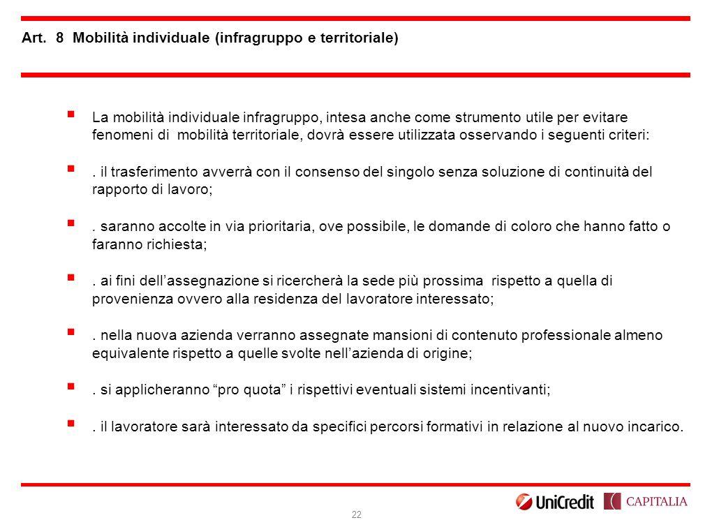 Art. 8 Mobilità individuale (infragruppo e territoriale)