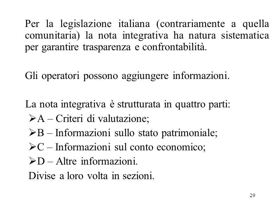 Per la legislazione italiana (contrariamente a quella comunitaria) la nota integrativa ha natura sistematica per garantire trasparenza e confrontabilità.