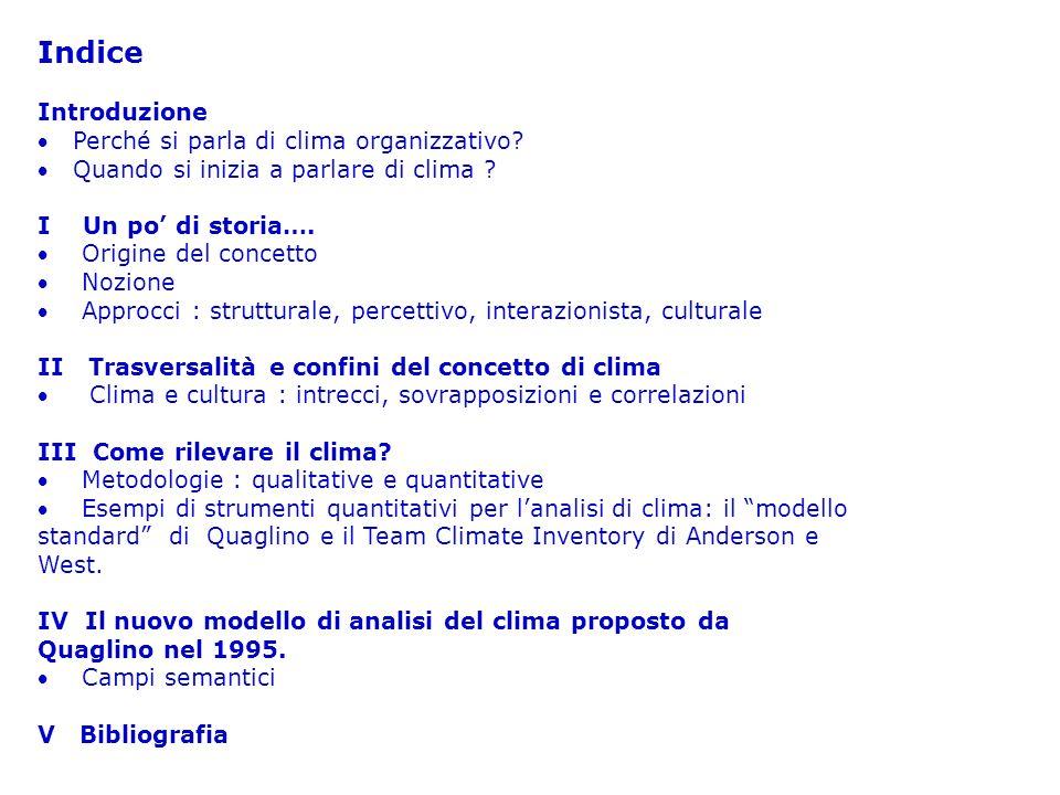 Indice Introduzione Perché si parla di clima organizzativo