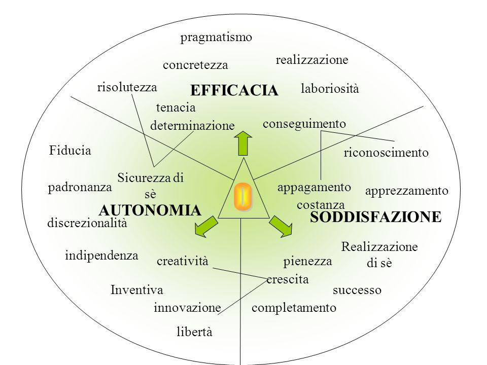 O EFFICACIA AUTONOMIA SODDISFAZIONE pragmatismo realizzazione