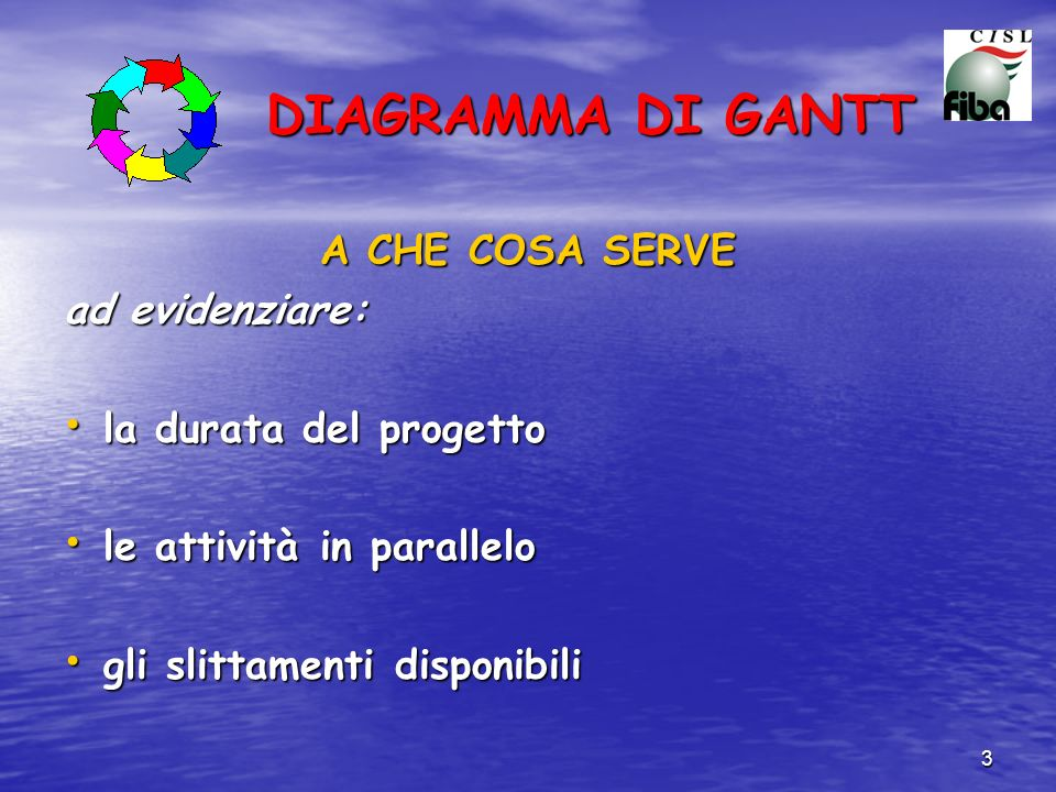 DIAGRAMMA DI GANTT A CHE COSA SERVE ad evidenziare: