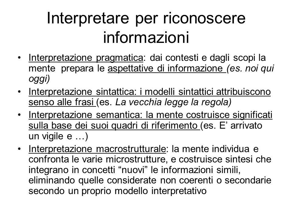 Interpretare per riconoscere informazioni
