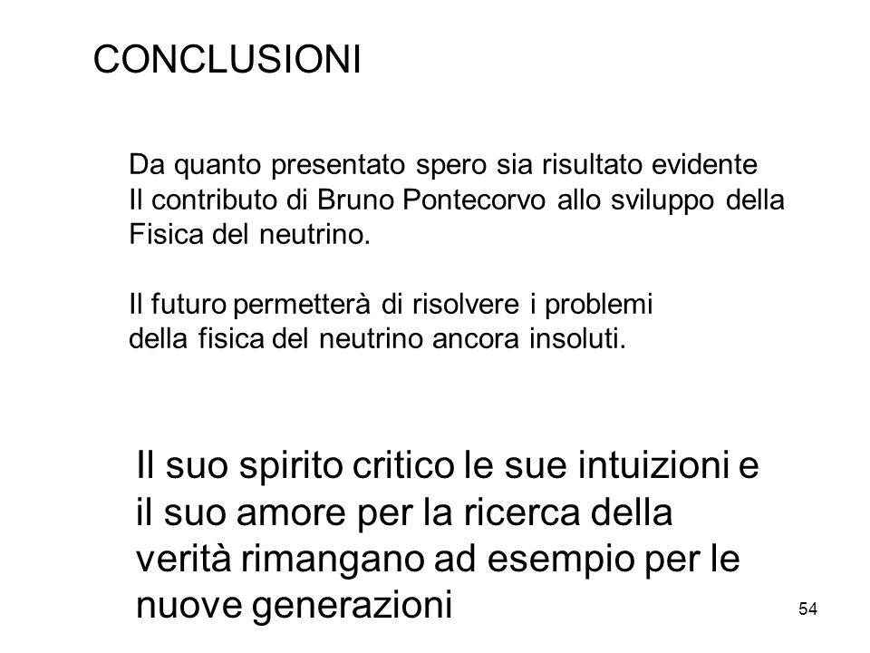 CONCLUSIONI Da quanto presentato spero sia risultato evidente. Il contributo di Bruno Pontecorvo allo sviluppo della.