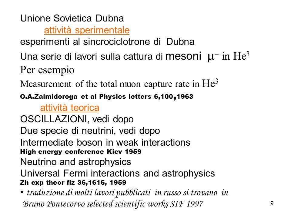 Per esempio Unione Sovietica Dubna attività sperimentale