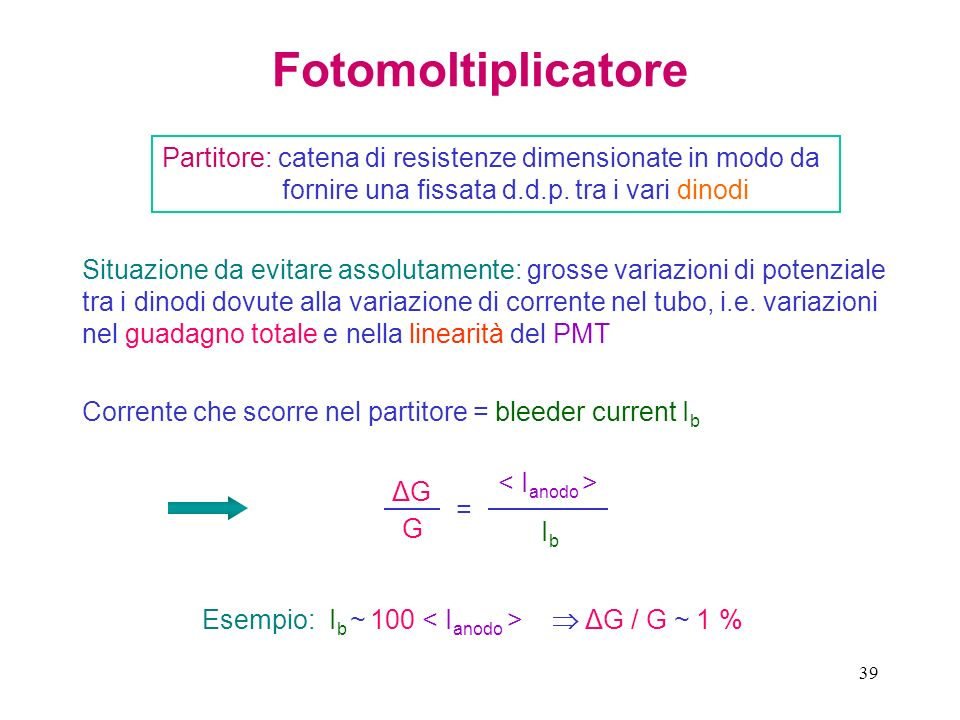 Fotomoltiplicatore Partitore: catena di resistenze dimensionate in modo da fornire una fissata d.d.p. tra i vari dinodi.