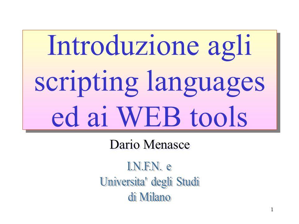 Introduzione agli scripting languages ed ai WEB tools