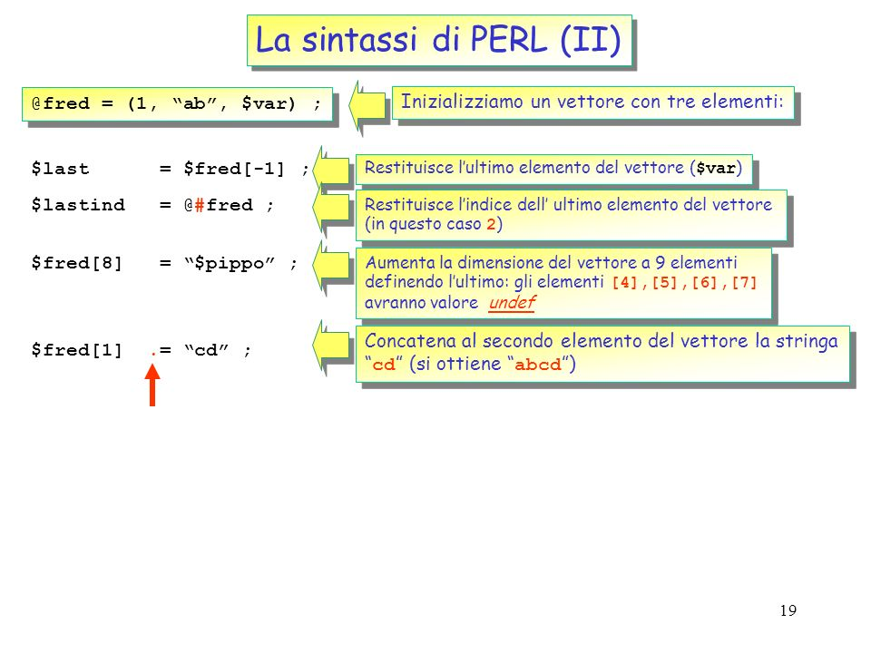 La sintassi di PERL (II)