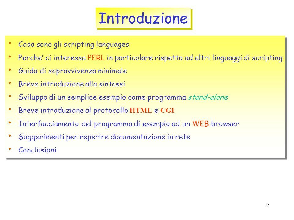 Introduzione Cosa sono gli scripting languages