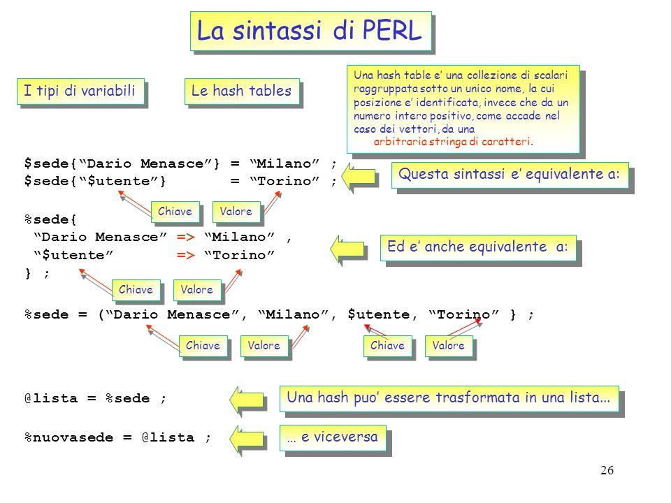 La sintassi di PERL I tipi di variabili Le hash tables