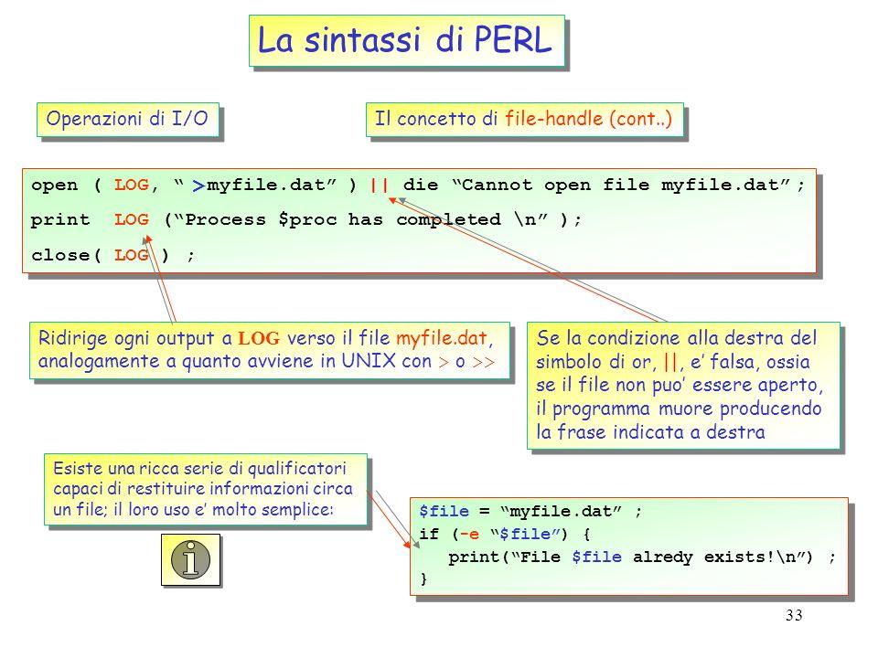 La sintassi di PERL > Operazioni di I/O