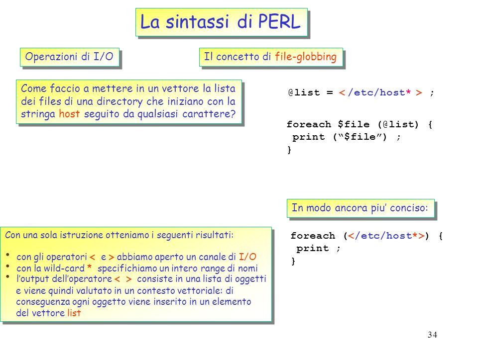 La sintassi di PERL Operazioni di I/O Il concetto di file-globbing