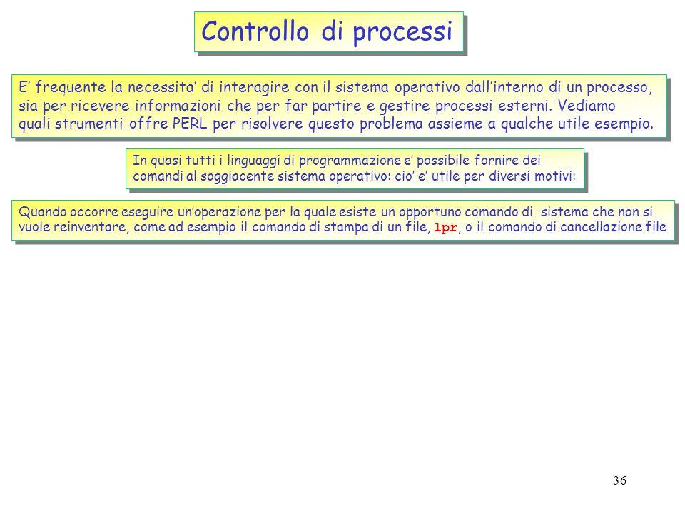 Controllo di processi E' frequente la necessita' di interagire con il sistema operativo dall'interno di un processo,