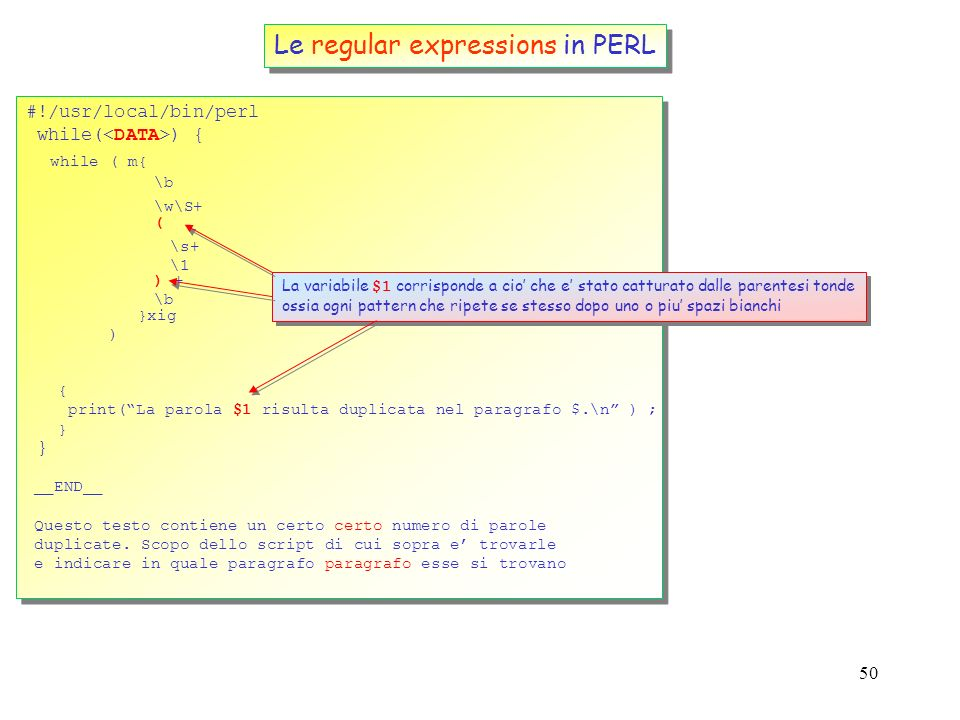 Le regular expressions in PERL