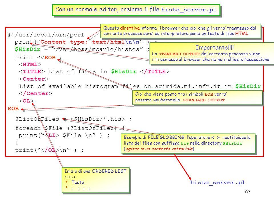 Con un normale editor, creiamo il file histo_server.pl