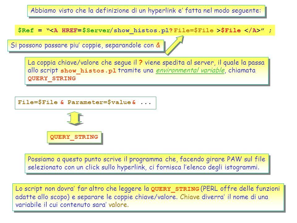 Abbiamo visto che la definizione di un hyperlink e' fatta nel modo seguente: