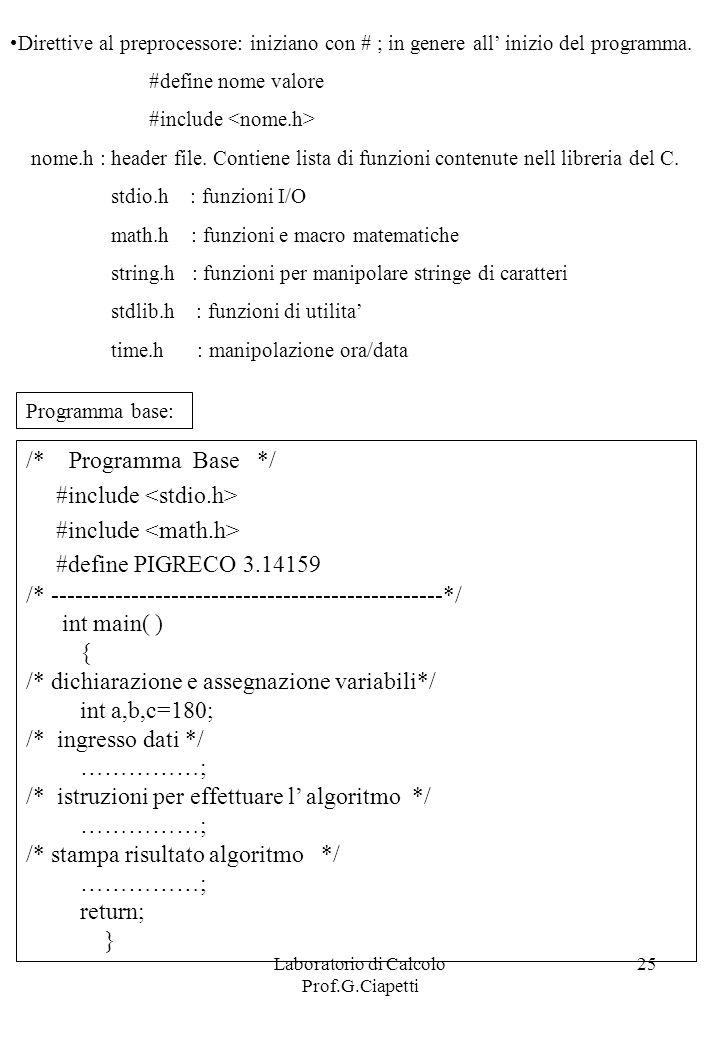 Laboratorio di Calcolo Prof.G.Ciapetti