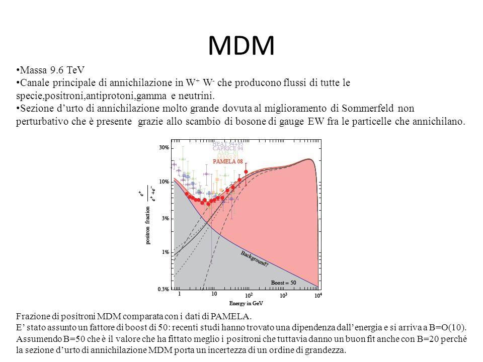 MDM Massa 9.6 TeV. Canale principale di annichilazione in W+ W- che producono flussi di tutte le specie,positroni,antiprotoni,gamma e neutrini.