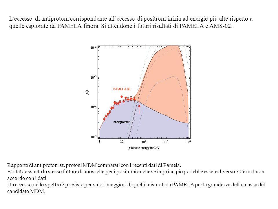L'eccesso di antiprotoni corrispondente all'eccesso di positroni inizia ad energie più alte rispetto a quelle esplorate da PAMELA finora. Si attendono i futuri risultati di PAMELA e AMS-02.