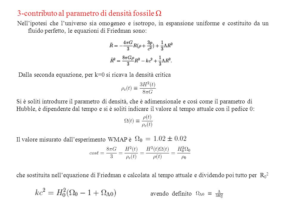 3-contributo al parametro di densità fossile Ω