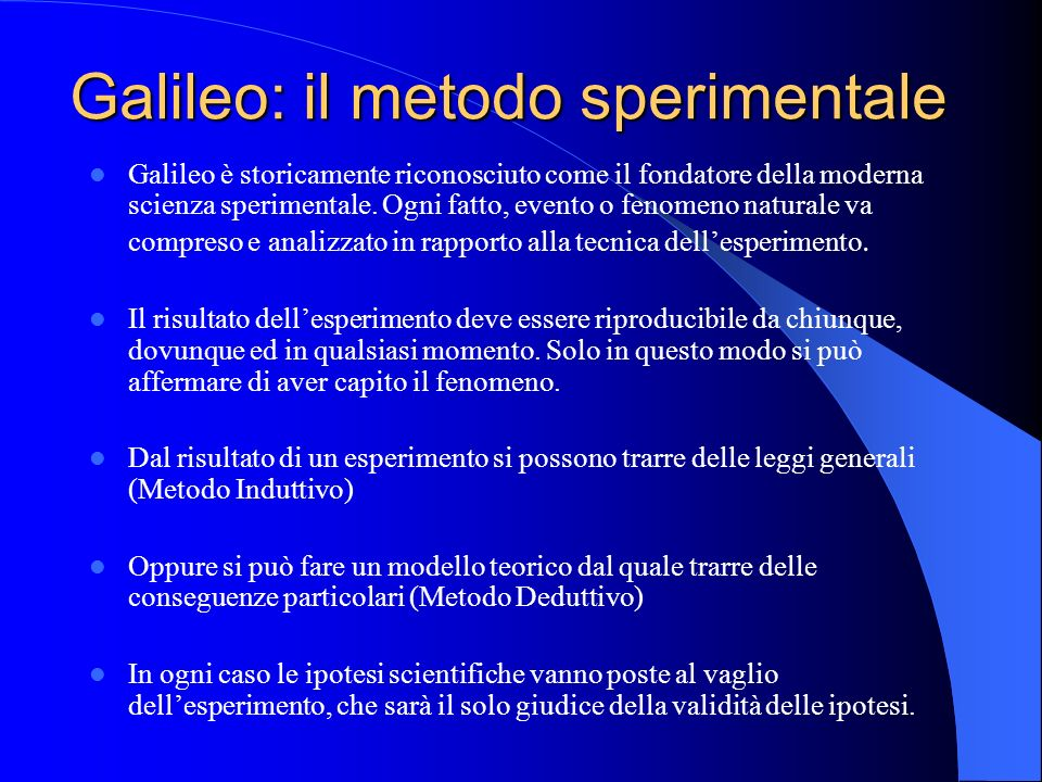 Galileo: il metodo sperimentale