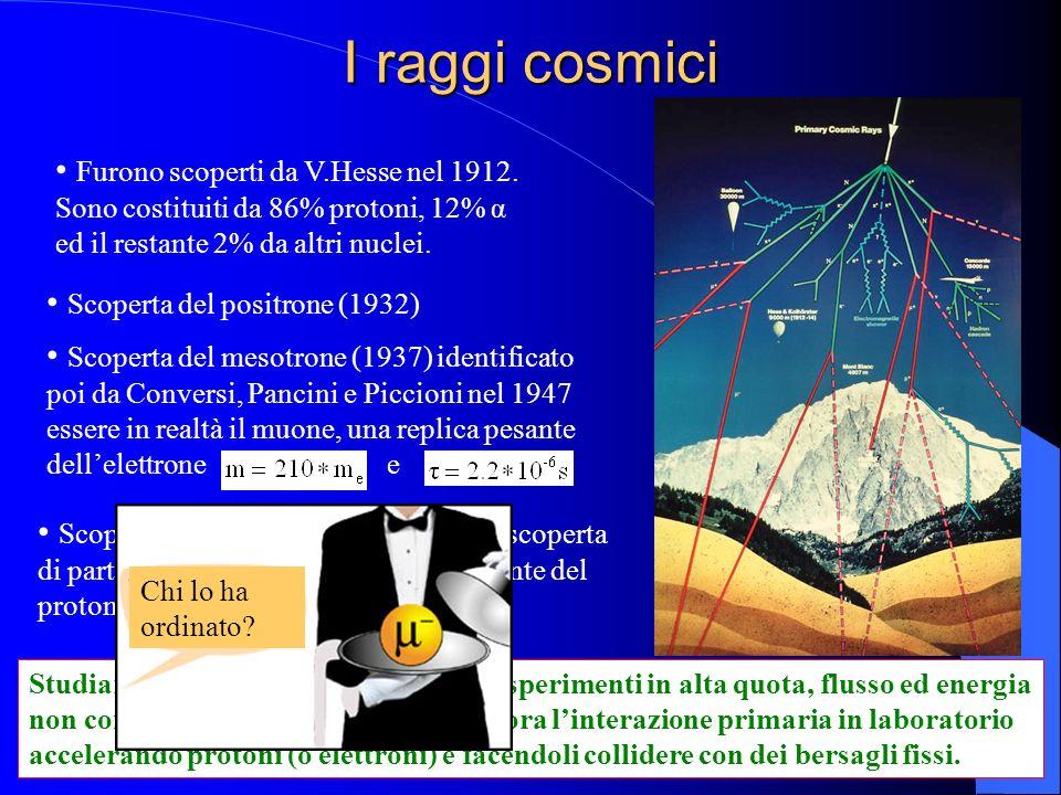 I raggi cosmici Furono scoperti da V.Hesse nel 1912. Sono costituiti da 86% protoni, 12% α ed il restante 2% da altri nuclei.