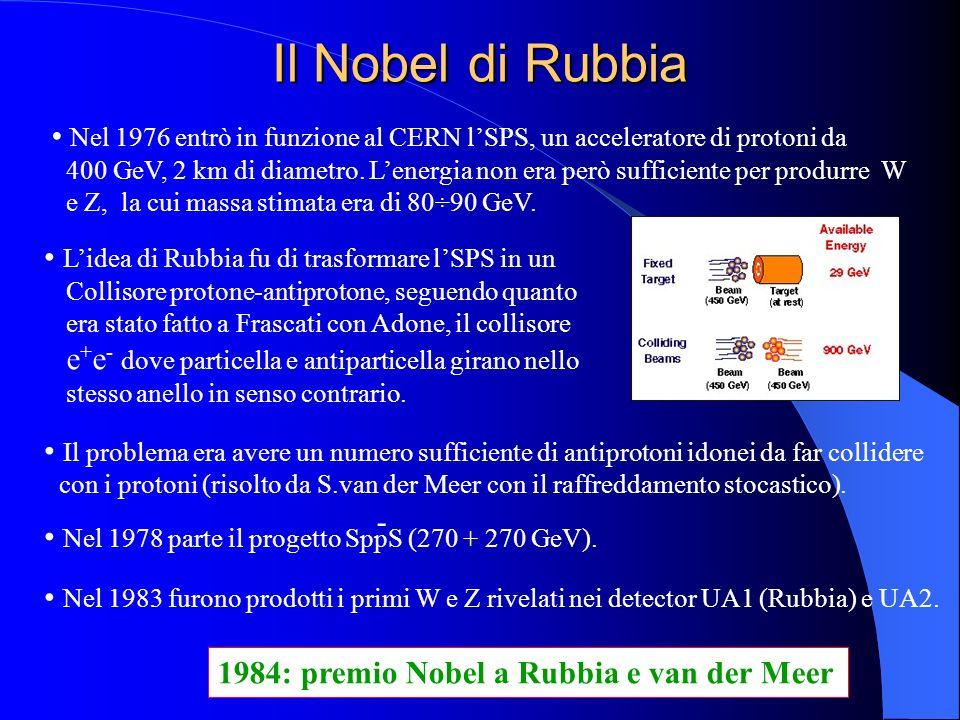 Il Nobel di Rubbia Nel 1976 entrò in funzione al CERN l'SPS, un acceleratore di protoni da.