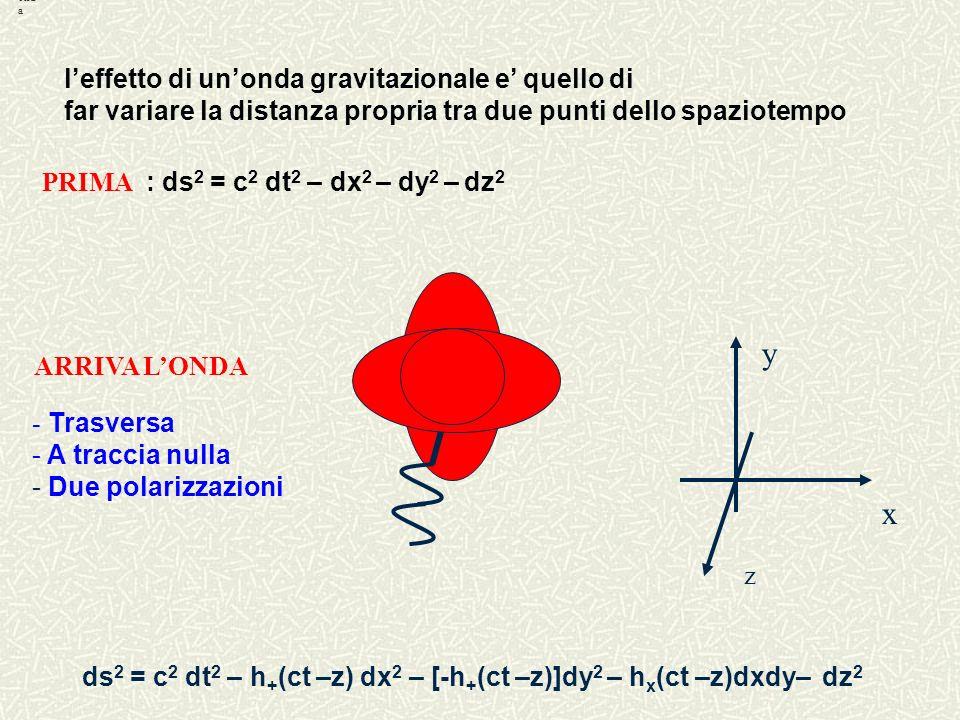 y x l'effetto di un'onda gravitazionale e' quello di