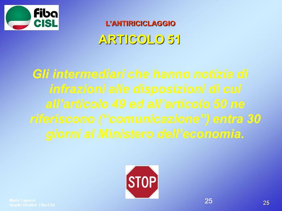 L'ANTIRICICLAGGIO ARTICOLO 51.