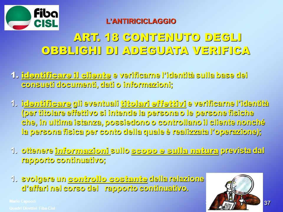 ART. 18 CONTENUTO DEGLI OBBLIGHI DI ADEGUATA VERIFICA