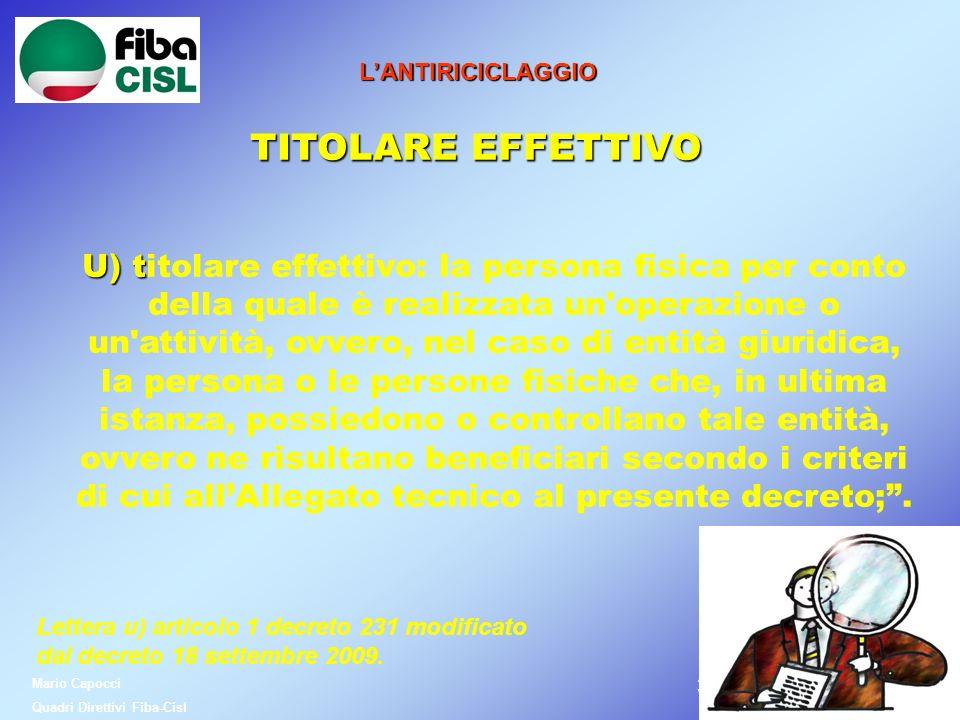 L'ANTIRICICLAGGIO TITOLARE EFFETTIVO.