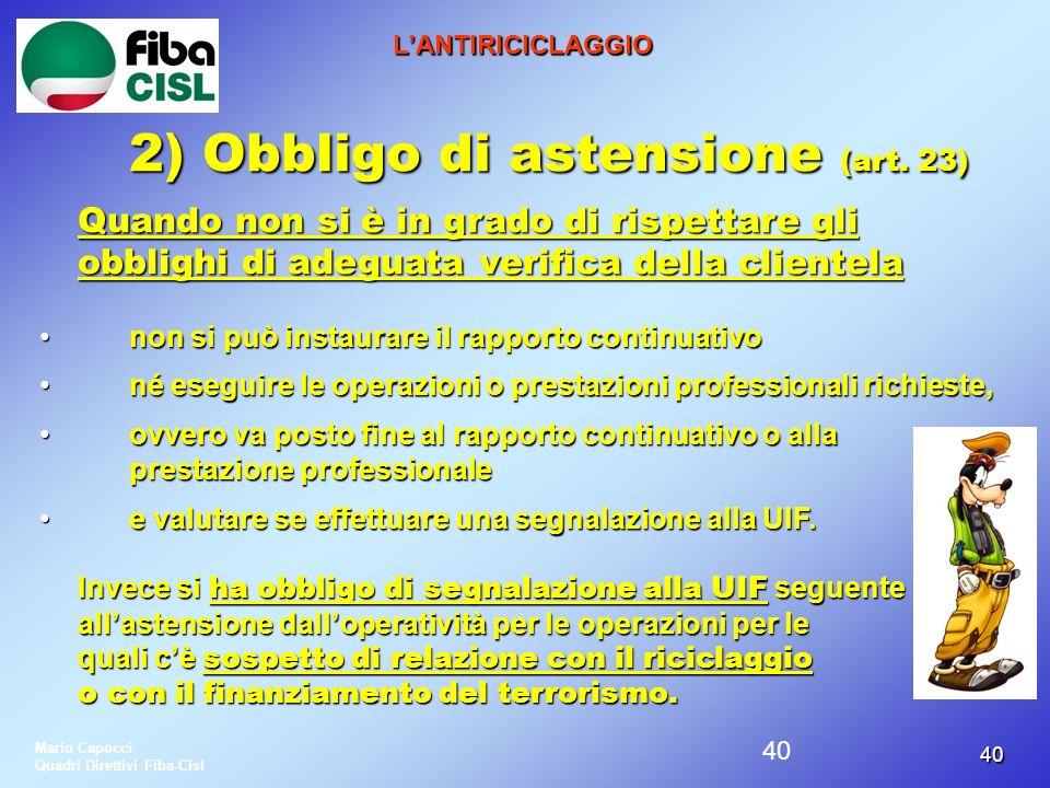 2) Obbligo di astensione (art. 23)