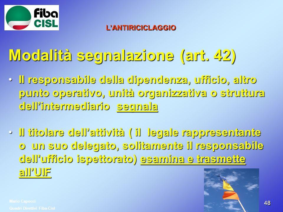 Modalità segnalazione (art. 42)
