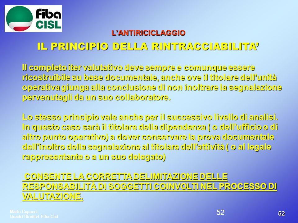 IL PRINCIPIO DELLA RINTRACCIABILITA'