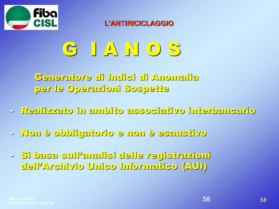 G I A N O S Generatore di Indici di Anomalia