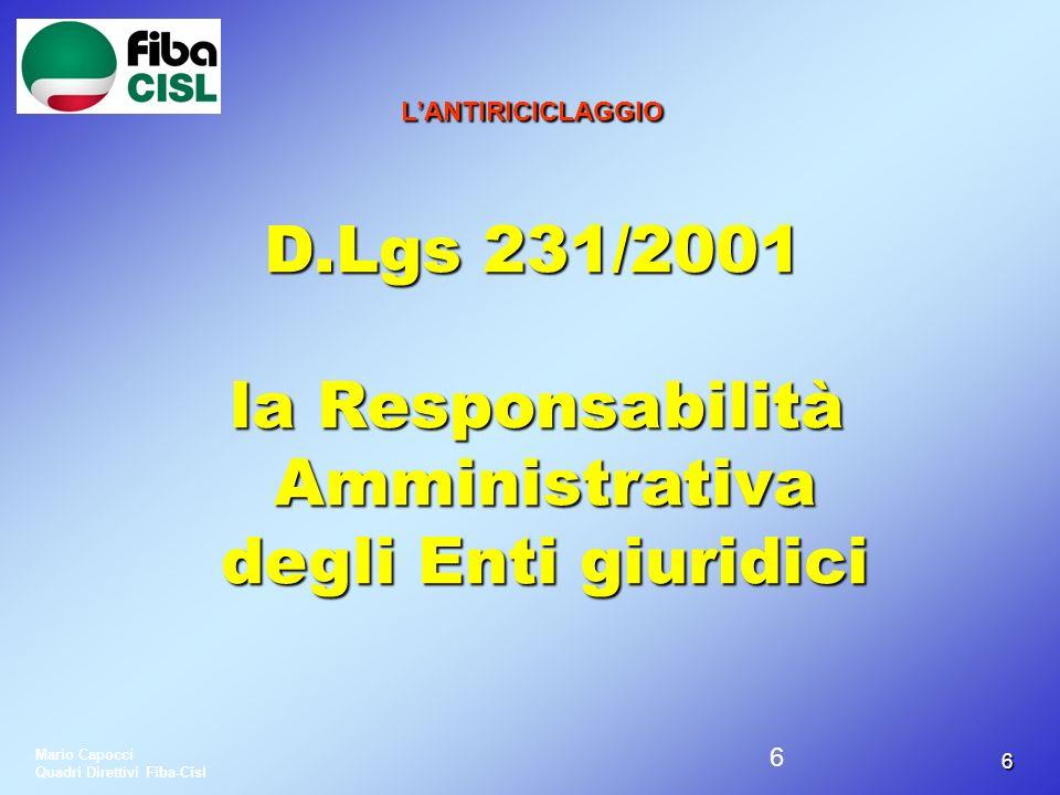 la Responsabilità Amministrativa degli Enti giuridici