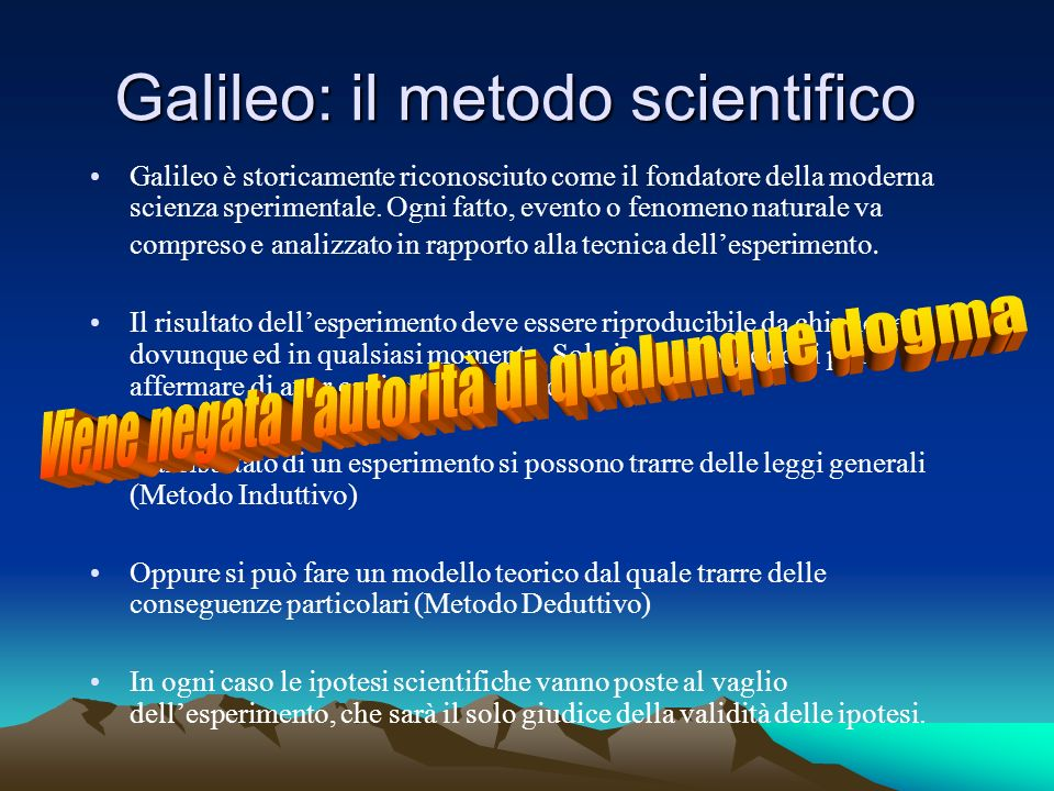 Galileo: il metodo scientifico