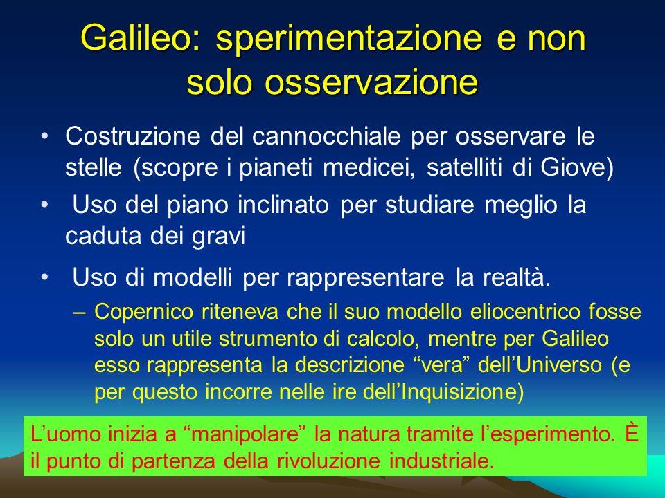 Galileo: sperimentazione e non solo osservazione