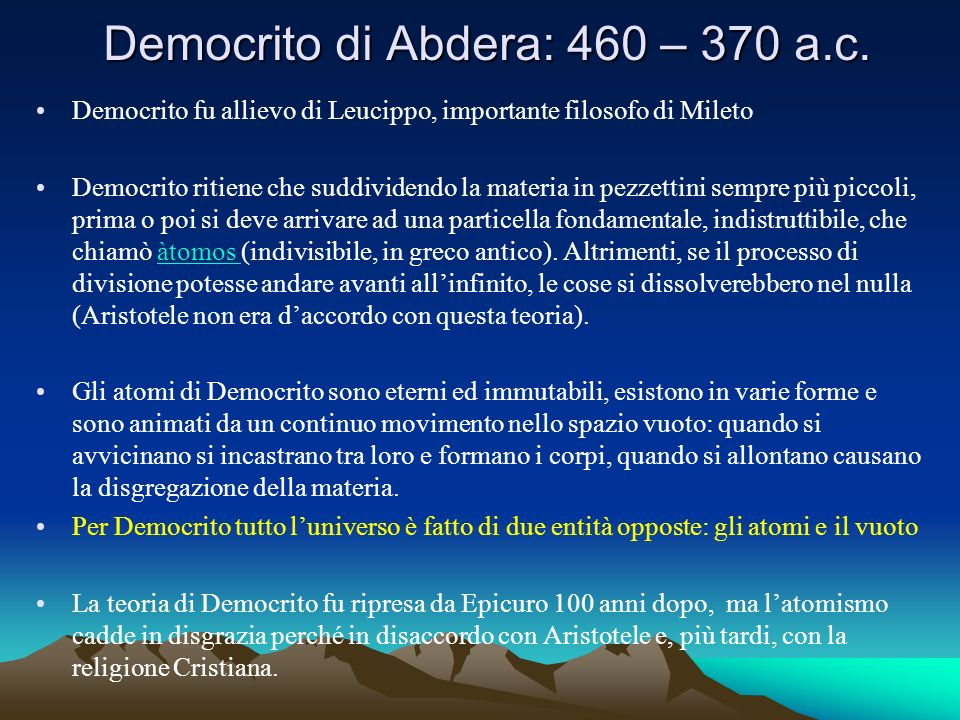 Democrito di Abdera: 460 – 370 a.c.