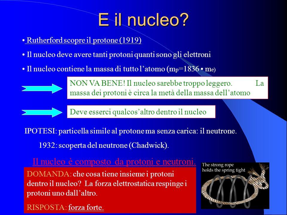 E il nucleo Rutherford scopre il protone (1919)