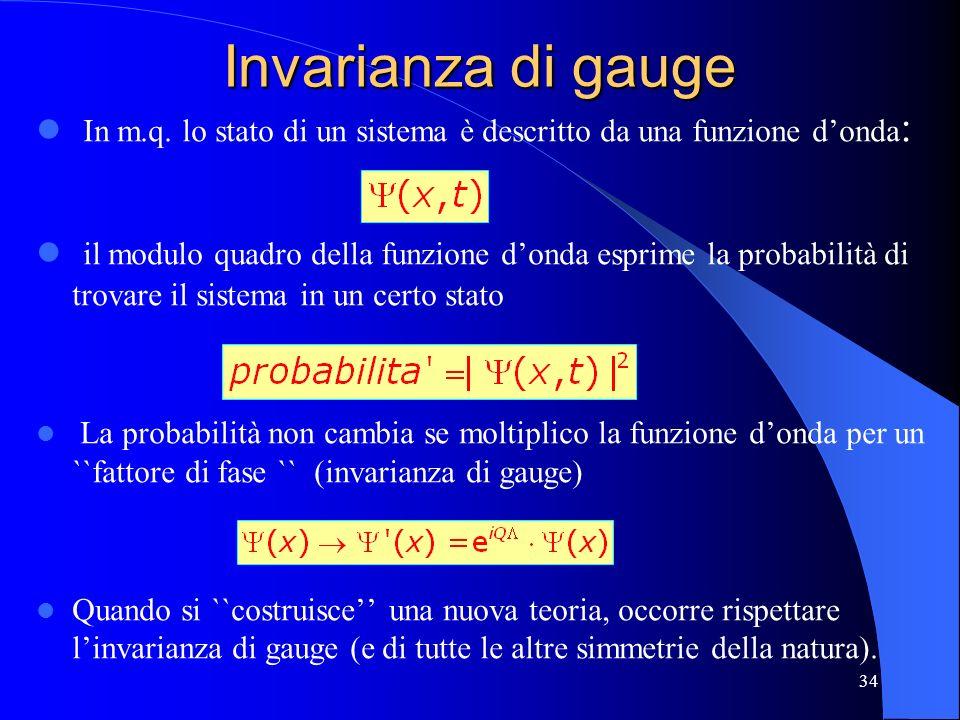 Invarianza di gauge In m.q. lo stato di un sistema è descritto da una funzione d'onda: