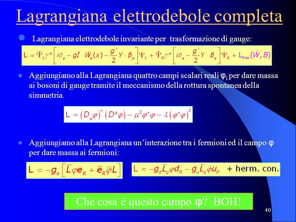 Lagrangiana elettrodebole completa