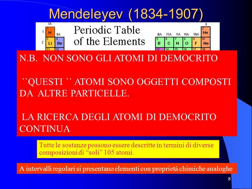 Mendeleyev (1834-1907) N.B. NON SONO GLI ATOMI DI DEMOCRITO