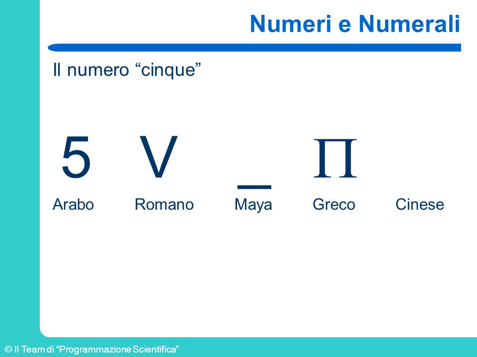 5 V _  Numeri e Numerali Il numero cinque