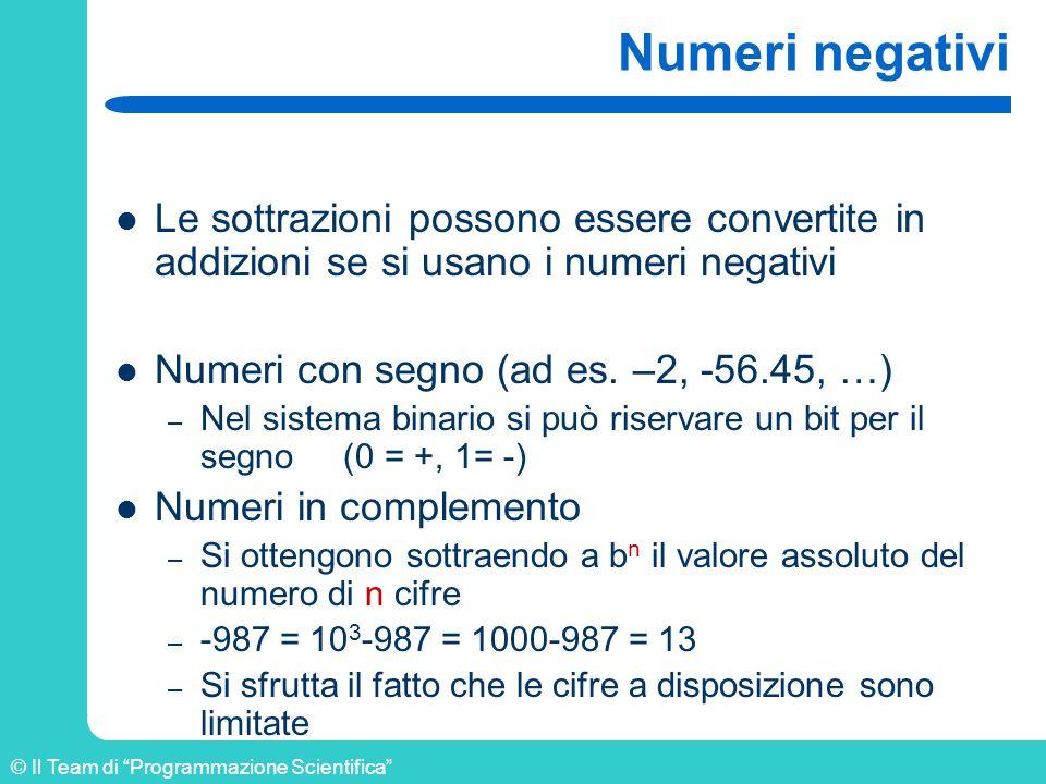 Numeri negativi Le sottrazioni possono essere convertite in addizioni se si usano i numeri negativi.