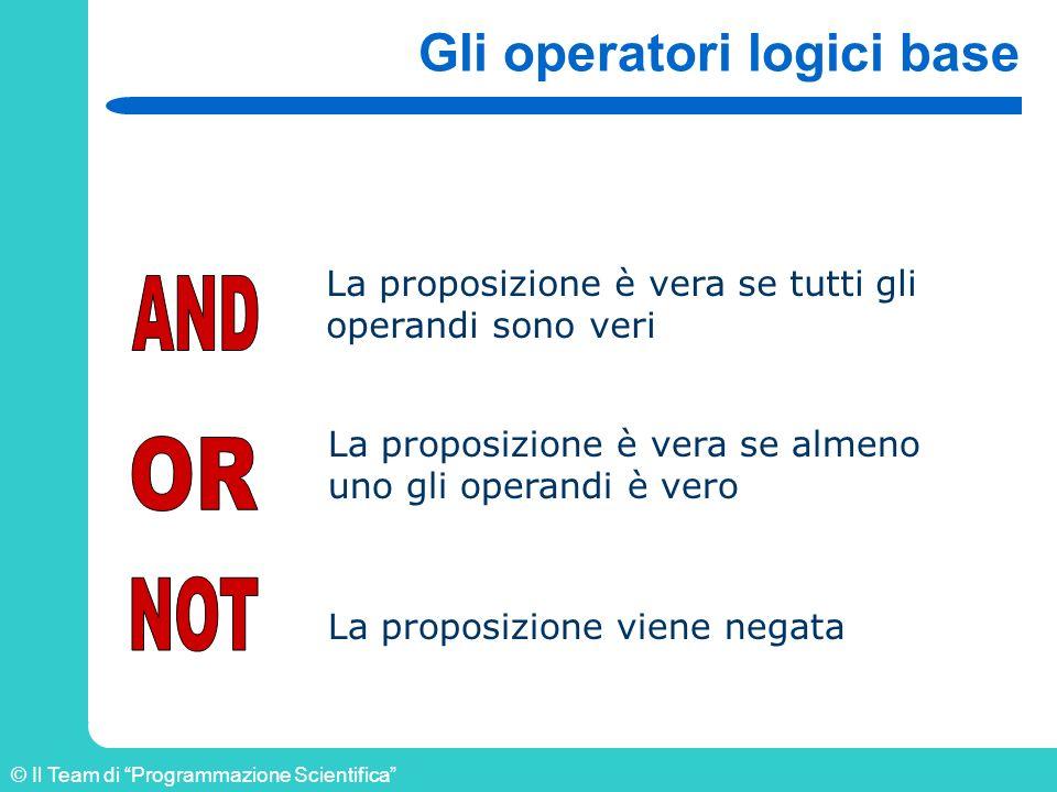 Gli operatori logici base