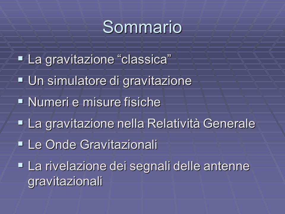 Sommario La gravitazione classica Un simulatore di gravitazione