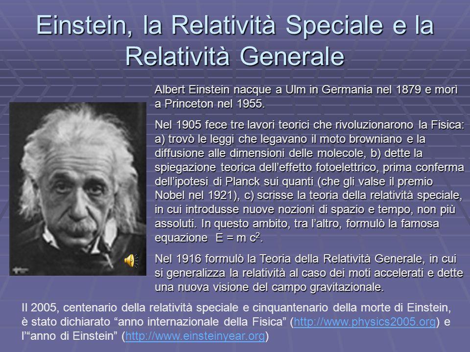 Einstein, la Relatività Speciale e la Relatività Generale