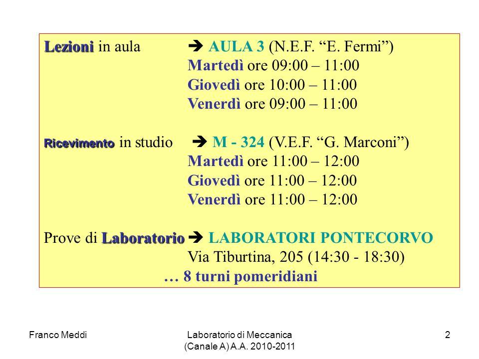 Laboratorio di Meccanica (Canale A) A.A. 2010-2011