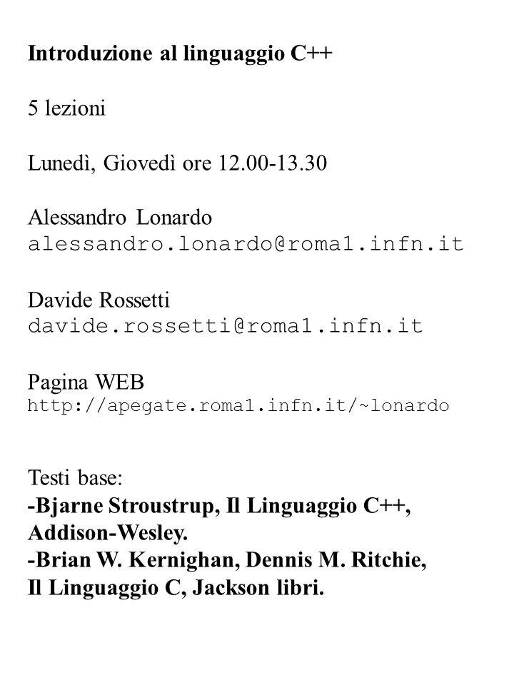 Introduzione al linguaggio C++ 5 lezioni