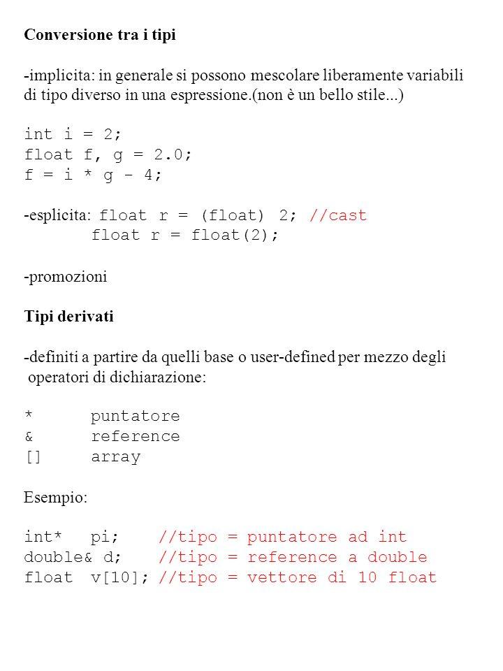 Conversione tra i tipi -implicita: in generale si possono mescolare liberamente variabili.